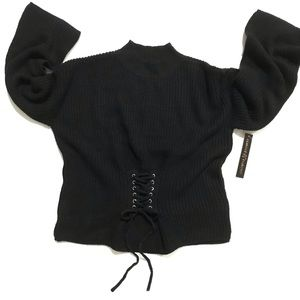 Almost Famous Corset Waist Mock Neck Sweater
